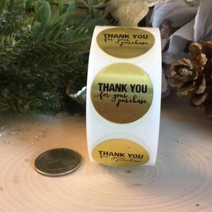 Thank You for your purchase 500 Gold Foil Stickers